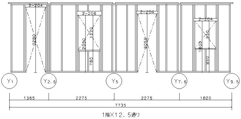 壁枠組立面図